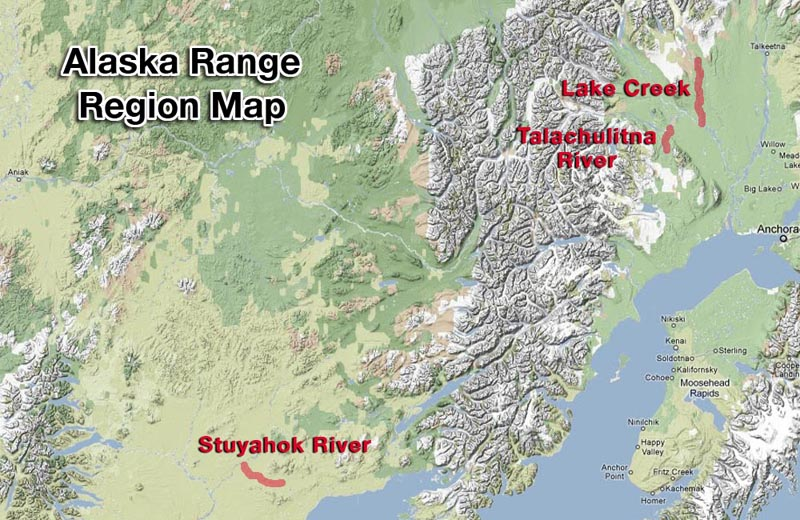 lake creek alaska map Alaska Range Region Map Providing Alaska Wilderness Float Trips lake creek alaska map